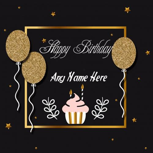 Write name on happy birthday gold star greeting card images