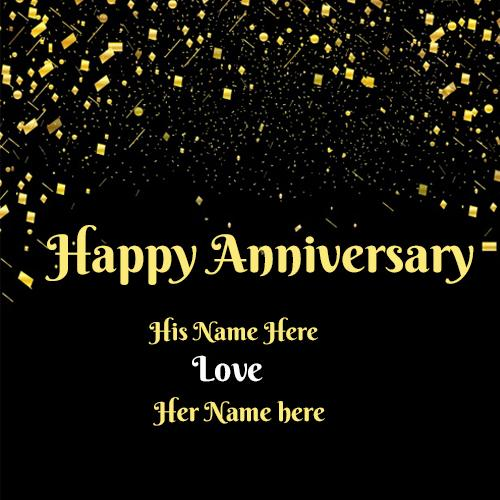 Write your couple name on happy anniversary love image free