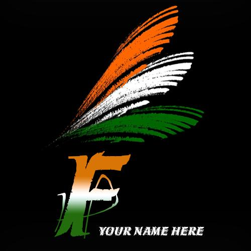 Write your name on F alphabet indian flag images