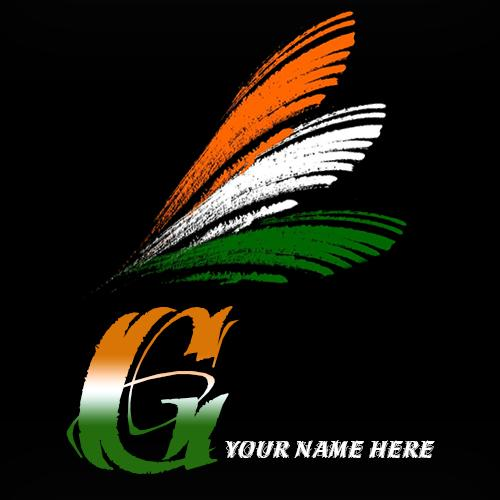 Write your name on G alphabet indian flag images