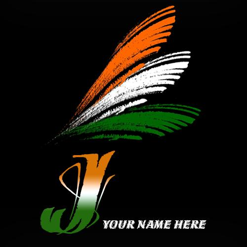 Write your name on J alphabet indian flag images
