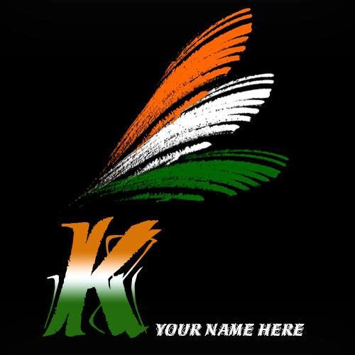Write your name on K alphabet indian flag images