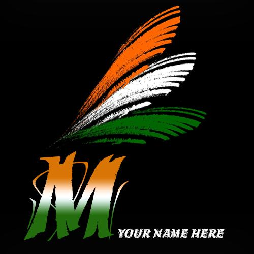 Write your name on M alphabet indian flag images