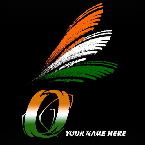 Write your name on O alphabet indian flag images