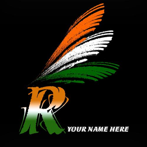 Write your name on R alphabet indian flag images