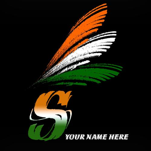Write your name on S alphabet indian flag images