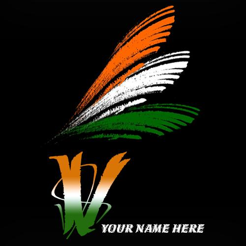Write your name on V alphabet indian flag images