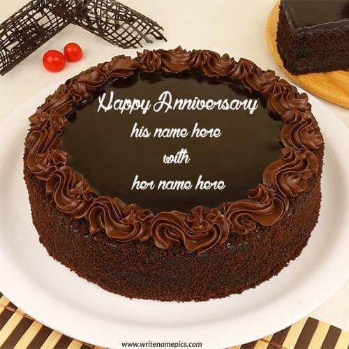 anniversary couple cake with name pics
