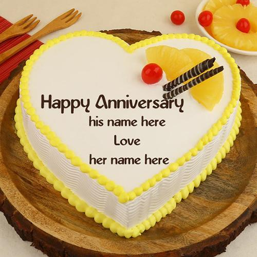 anniversary wishes cake with name edit
