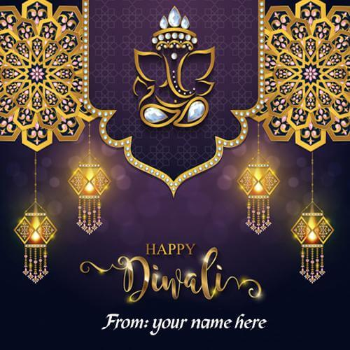 beautiful happy diwali wishes greetings cards with name edit