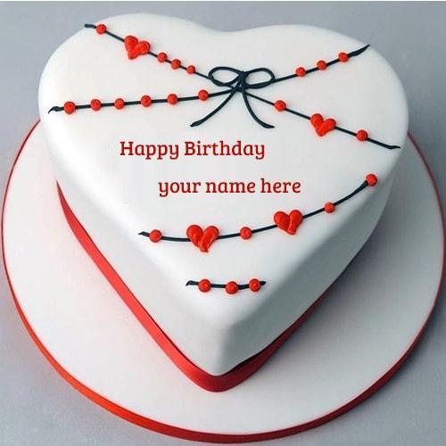 beautiful red and white heart shape happy birthday cake
