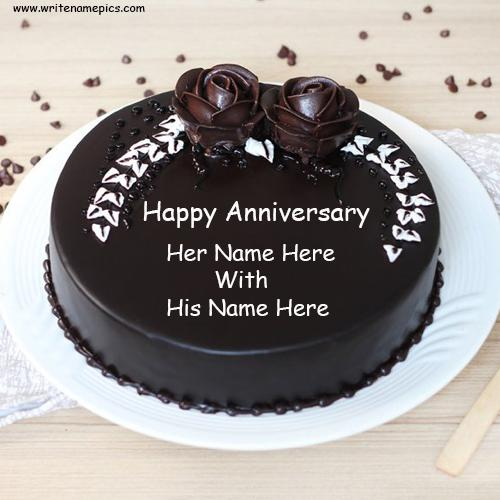 chocolate rose anniversary cake with name edit
