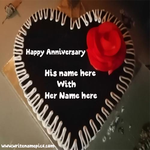 create Happy Anniversary cake with Couple name