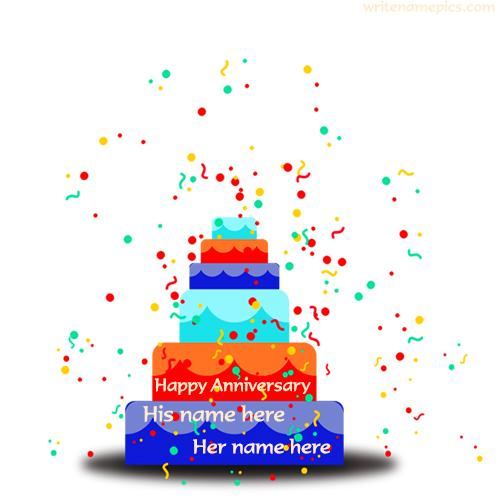 create anniversary cake with cute couple online free