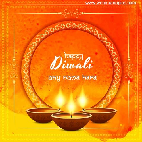 create happy diwali wishes greeting card with name