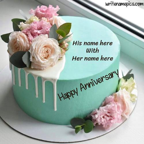 create your romantic Happy Anniversary cake with Name