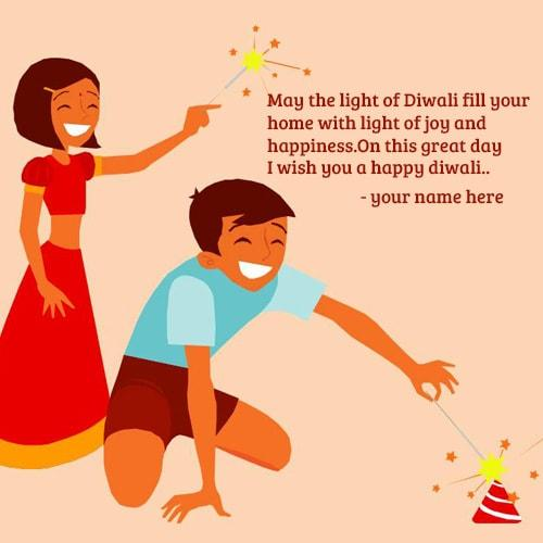 cute and happy kids celebrating diwali quotes with crackers