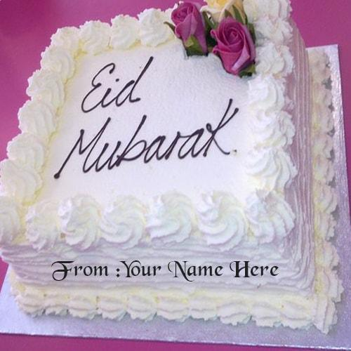 eid mubarak wishes cake with name edit