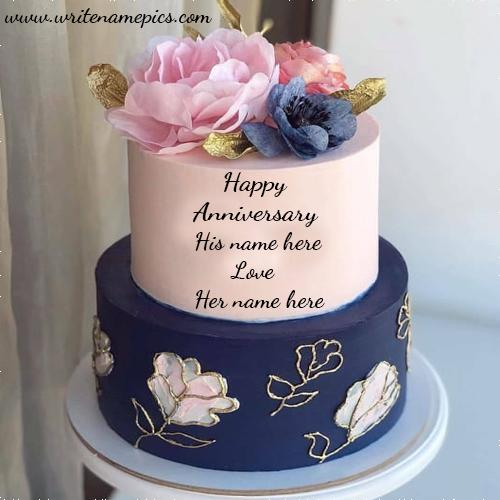 happy Anniversary cake with name image