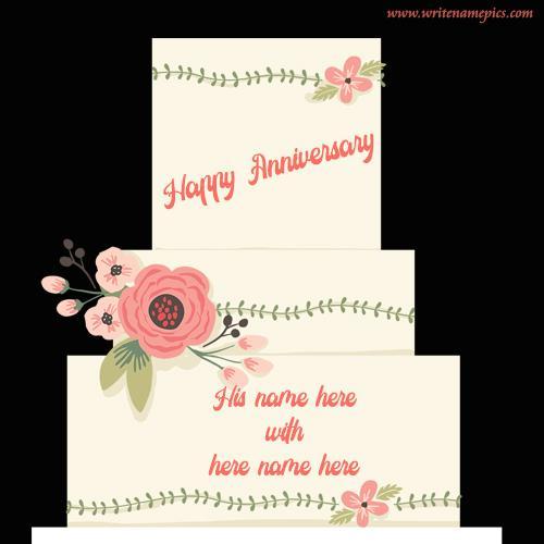 happy anniversary cake edit with name