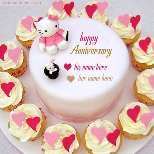 happy anniversary name cake