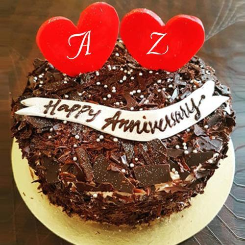 happy anniversary wishes cake with couple alphabet images