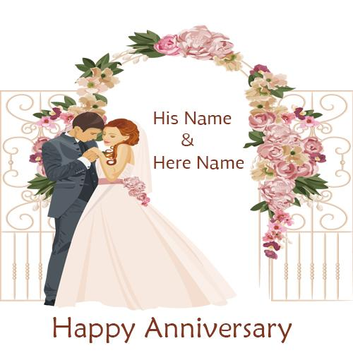 happy anniversary wishes romantic couple card with name