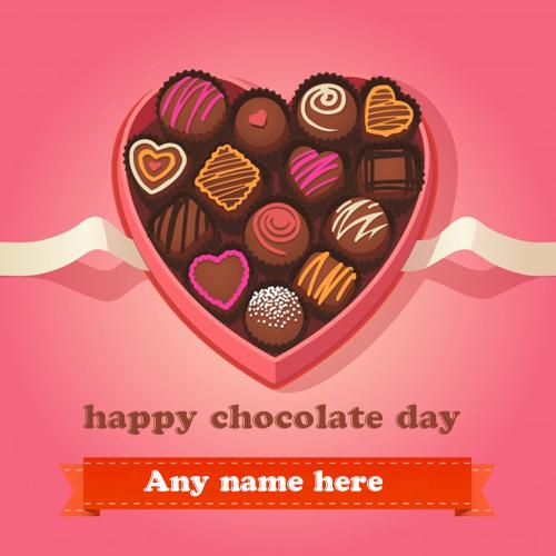 happy chocolate wishes greeting card pic with name