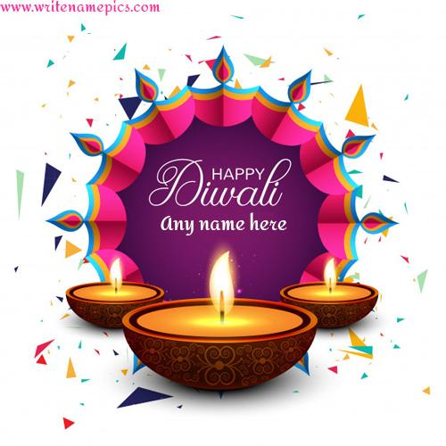 happy diwali greeting card with name photo