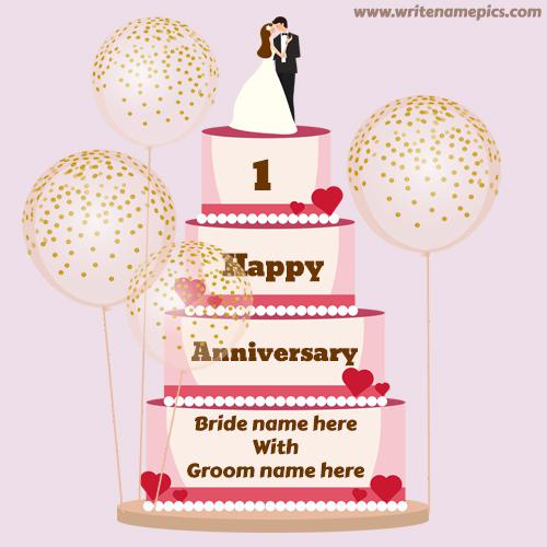 happy first anniversary wishes cake with couple name
