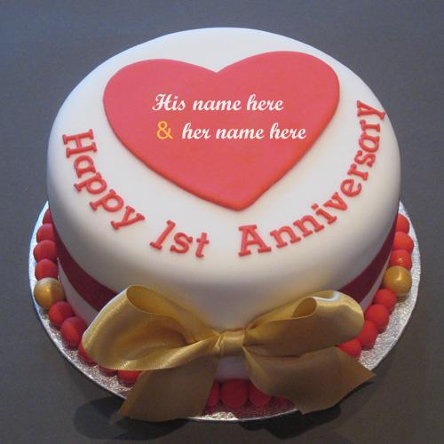 happy first anniversary wishes with couple name cake images