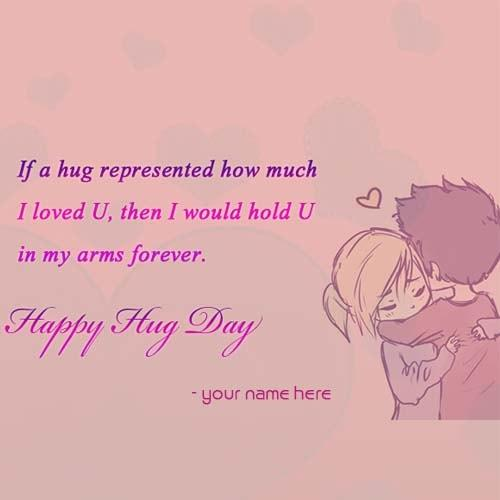 happy hug day quote name pix