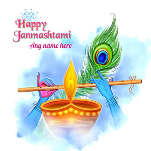 happy janmashtami greeting card with name photo