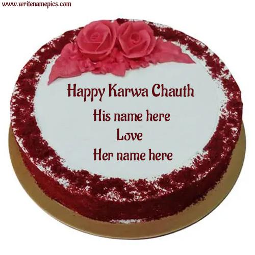 happy karva chauth cake with name free edit