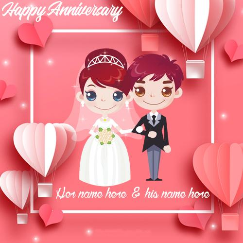 happy marriage anniversary card with name
