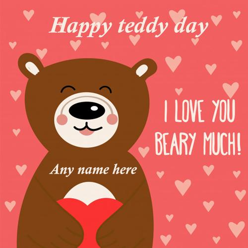 happy teddy deay wishes card with name images