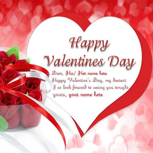 Happy Valentine In Advance Quotes: Day Wishes Greeting Card With Name