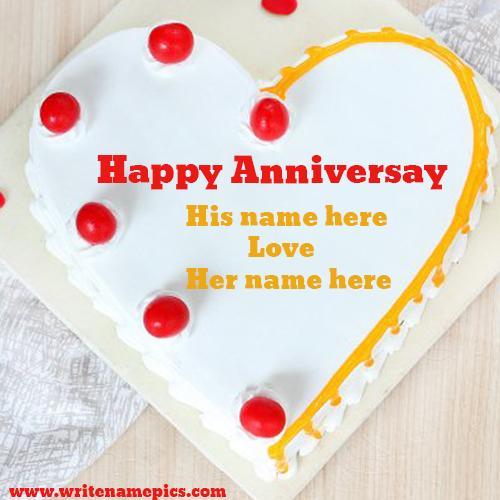 happy wedding anniversary cake with name edit