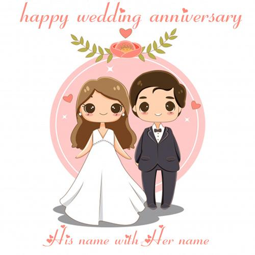 happy wedding anniversary greeting cards with name pic