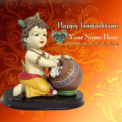 Cake Images With Name Krishna : happy krishna janmashtami wish greeting card with name edit