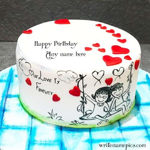 love birthday cake with name