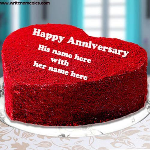 love heart anniversary cake with name free edit