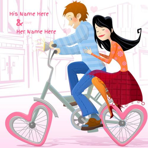 lovely bicycle drawing romantic couple image with name