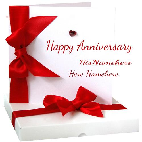 Write Name On Happy Anniversary Wishes Congratulations Cards