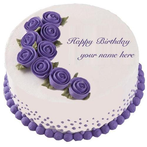 name on birthday cake with purple roses