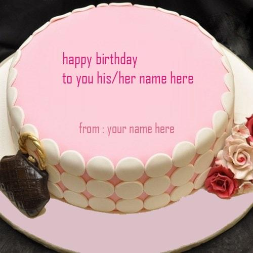 pink birthday cakes for girl name editor