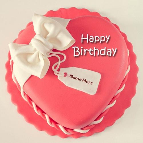 pink happy birthday heart shape cake name edit