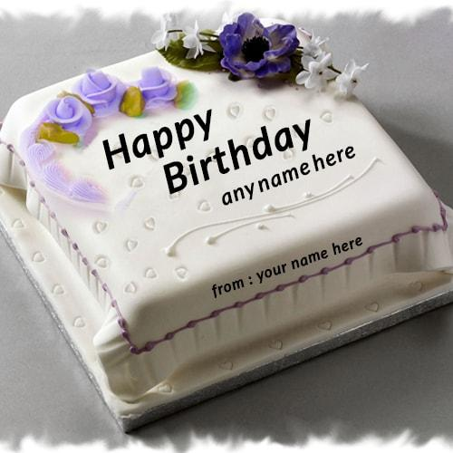 purple rose flower birthday cake name edit