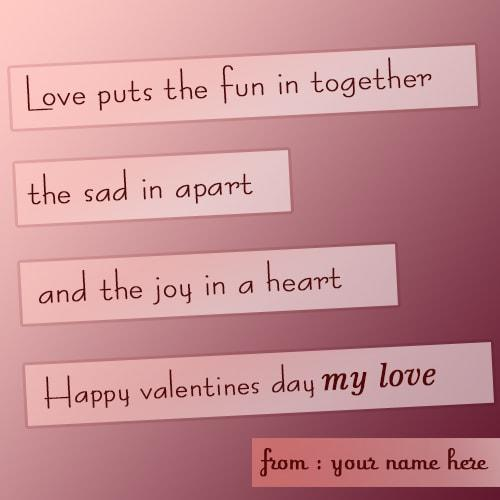 happy valentine day quote card for my lover