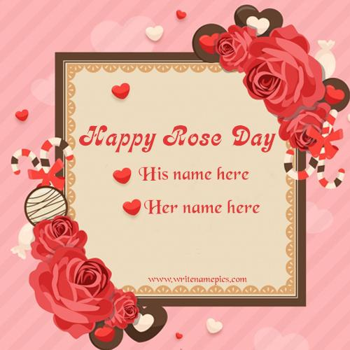 rose day wishe card with couple name pic